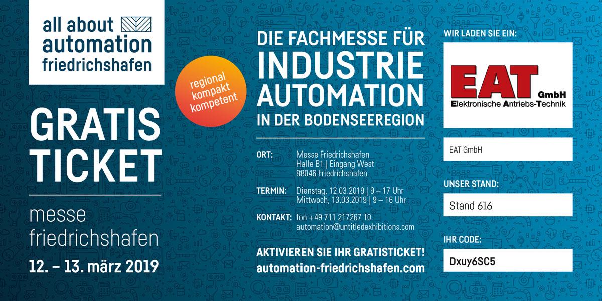 EAT Eintrittsgutschein all about automation Friedrichshafen